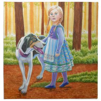 青および犬 ナプキンクロス