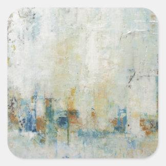 青および白いの抽象的な都市景観 スクエアシール