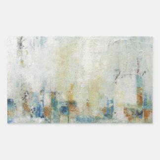 青および白いの抽象的な都市景観 長方形シール