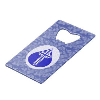 青および白いの青い涙の白い十字 クレジットカード 栓抜き
