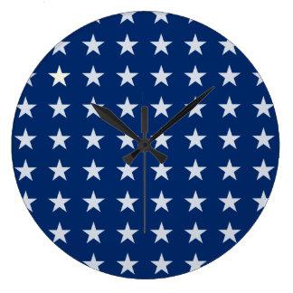 青および白いアメリカの星の時計 ラージ壁時計