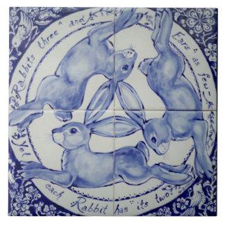 青および白いウサギのノウサギのトリオの鳥のタイルTrivet タイル
