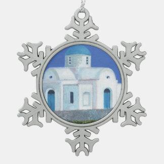 青および白いギリシャのキプロス教会 スノーフレークピューターオーナメント