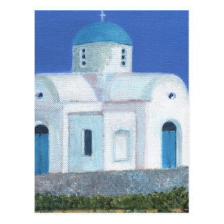 青および白いギリシャのキプロス教会 ポストカード