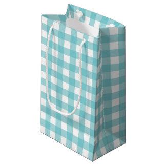 青および白いギンガムのデザイン スモールペーパーバッグ