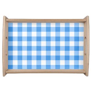 青および白いギンガムの点検パターン トレー