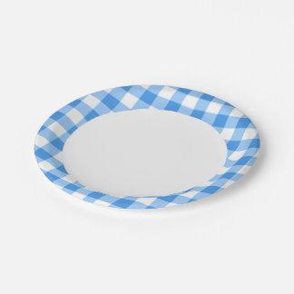 青および白いギンガムの点検パターン ペーパープレート