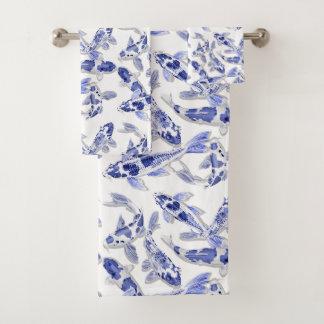 青および白いコイ バスタオルセット