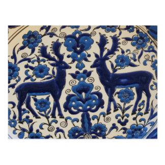 青および白いシカの雄鹿のヴィンテージのタイル ポストカード