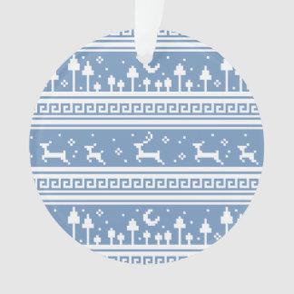 青および白いシカ家族の月明りの森林 オーナメント
