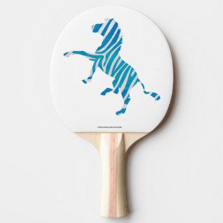 青および白いシルエットのシマウマ 卓球ラケット
