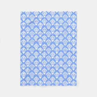 青および白いダマスク織のフリースブランケット フリースブランケット