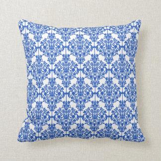 青および白いダマスク織の枕 クッション