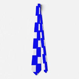 青および白いチェッカーボードの側面 カスタムネクタイ
