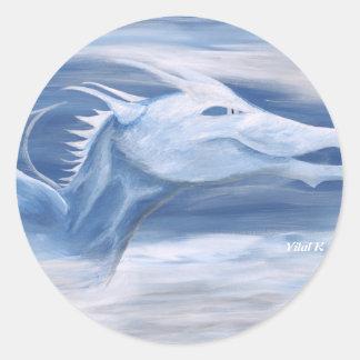 青および白いドラゴン ラウンドシール