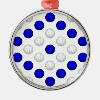 青および白いバスケットボールパターン メタルオーナメント