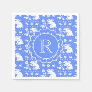 青および白いバニーウサギのヴィンテージのスタイルパターン スタンダードカクテルナプキン