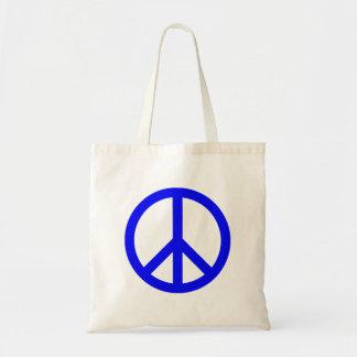 青および白いピースマーク トートバッグ