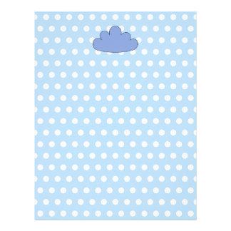 青および白いポルカドットの青い雲 レターヘッド