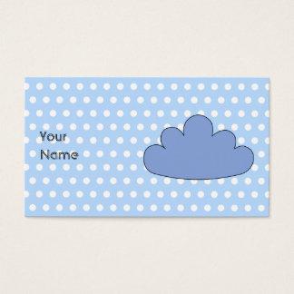 青および白いポルカドットの青い雲 名刺