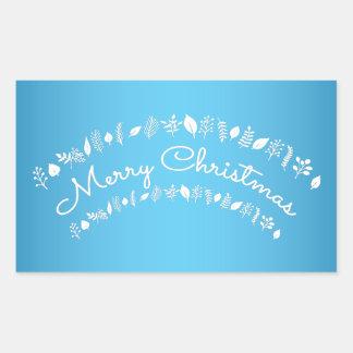 青および白いメリークリスマスの長方形のステッカー 長方形シール