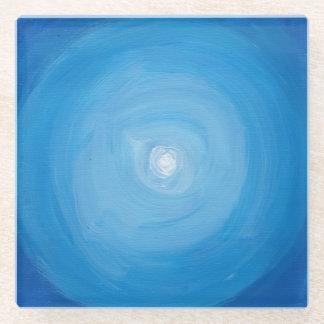 青および白いモダンの抽象芸術の正方形の絵画 ガラスコースター