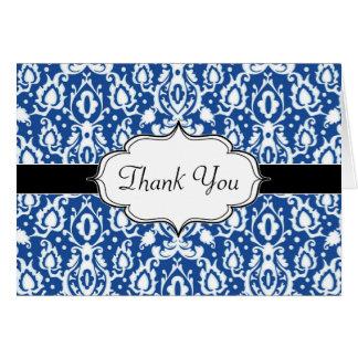 青および白いモロッコのダマスク織 カード