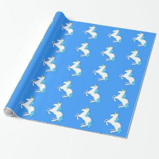 青および白いユニコーン ラッピングペーパー