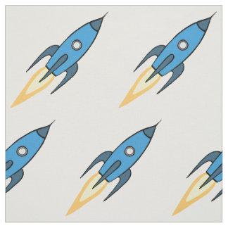 青および白いレトロのRocketshipの漫画のデザイン ファブリック