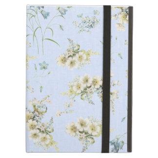 青および白いヴィンテージの花柄 iPad AIRケース