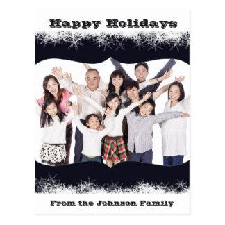 青および白い休日の家族写真の郵便はがき ポストカード