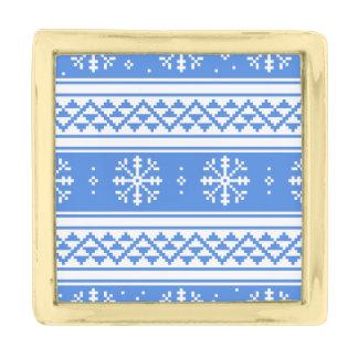青および白い冬の雪片パターン 金色 ラペルピン