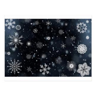青および白い夜空の雪片 ポストカード