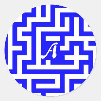 青および白い当惑のモノグラム ラウンドシール