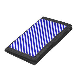青および白い斜めのストライプ ナイロン三つ折りウォレット