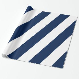 青および白い斜めのストライプ ラッピングペーパー