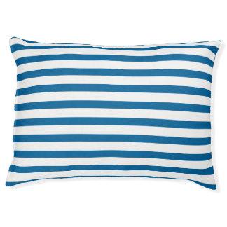 青および白い横のストライプな犬のベッド ラージドッグベッド