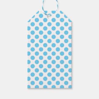 青および白い水玉模様パターン ギフトタグ