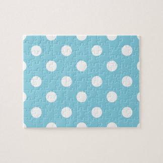 青および白い水玉模様パターン ジグソーパズル