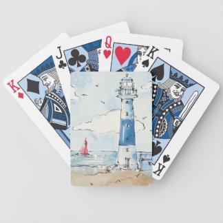 青および白い灯台 バイスクルトランプ