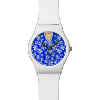 青および白い熱帯医学はごしごし洗います 腕時計