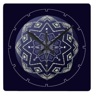 青および白い球の曼荼羅の柱時計 スクエア壁時計