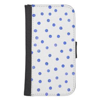 青および白い紙吹雪のドット・パターン 札入れ型 GALAXY S4ケース