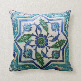 青および白い花のオットマン時代のタイルのデザイン クッション