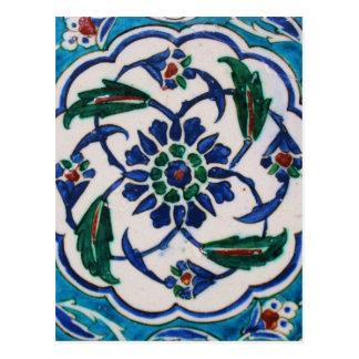 青および白い花のオットマン時代のタイルのデザイン ポストカード
