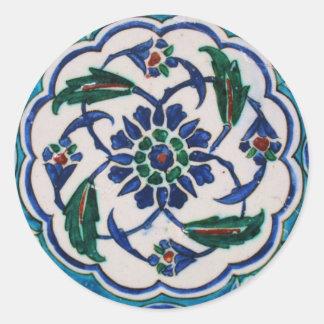 青および白い花のオットマン時代のタイルのデザイン ラウンドシール