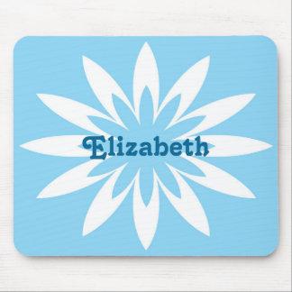 青および白い花のモノグラムのmousepad マウスパッド