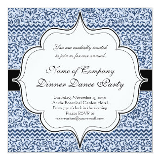 青および白い花のTudorのダマスク織のヴィンテージのスタイル カード