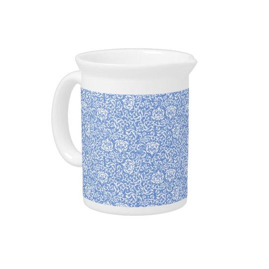 青および白い花のTudorのダマスク織のヴィンテージのスタイル ピッチャー