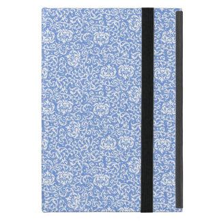 青および白い花のTudorのダマスク織のヴィンテージのスタイル iPad Mini ケース